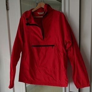 Men's Vintage LL Bean Red Nylon Rain Coat Pullove